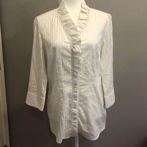 Banana Republic white 3/4 sleeve blouse, Size 12